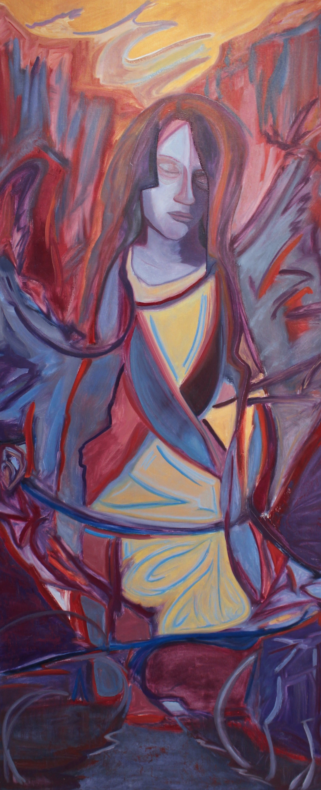 "Ave Maria, 30x72"", Oil on Museum-Depth Linen"
