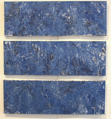 """Wind (50 mph gusts), Mixed Media on Canvas, Series of three, 12 x36"""""""