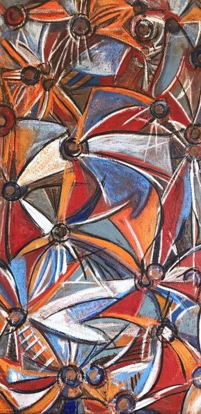 "Boom/Bloom, encaustic mixed media on raw board, 48 x 24"""