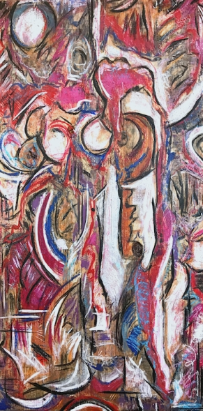 "The Bull Rising, encaustic mixed media on raw wood, 48 x 24"""