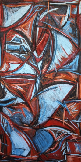 A Change in the Wind, encaustic mixed media on raw board, 48 x 24""