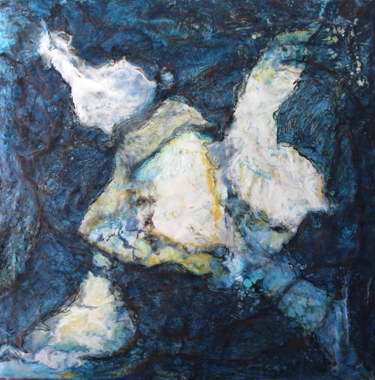 Unknowing, 24 x 24, encaustic mixed media on wood