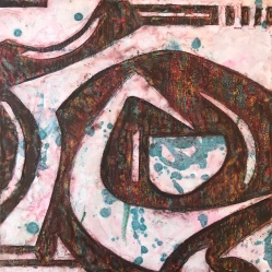 """Lost and Found, encaustic mixed media on wood, 12 x 12"""" (permanent collection We Are This City)"""