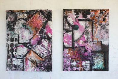 """Amount Due, (2) 24 x 18"""" (diptych), oil stick, watercolor, spray, charcoal, chalk, graphite, gesso, and ink on collaged debt-relief marketing materials over board, 2019"""