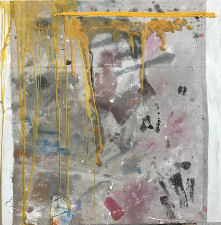 "Study in Yellow Drip, encaustic drip over artist-used drop cloth on board, 24 x 24"", 2019"