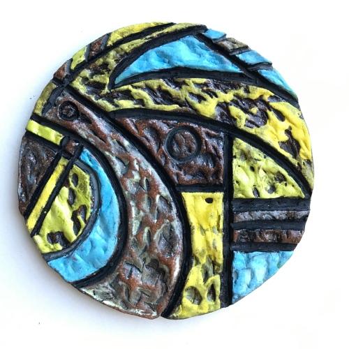 """Both Hands (Left), 8"""" round, glazed ceramic, 8"""" round, 2019"""
