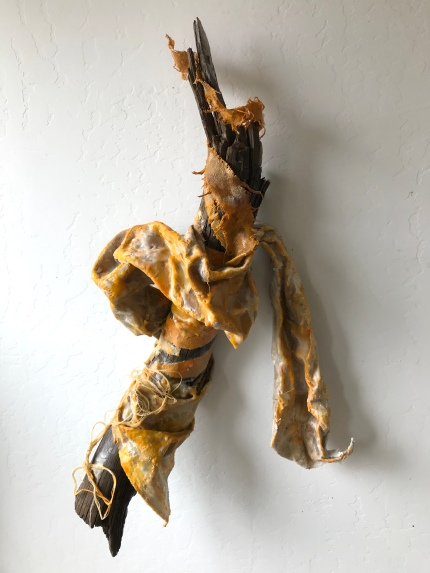"Totem, 24 x 16 x 6"", encaustic, oil, canvas, thread, and found wood"
