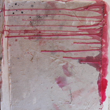 "Study in Pink Drip, encaustic drip over artist-used drop cloth on board, 24 x 24"", 2019"