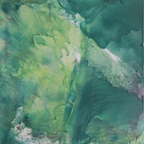 """Not yet titled, encaustic and oil on coldpress paper, 12 x 12"""""""