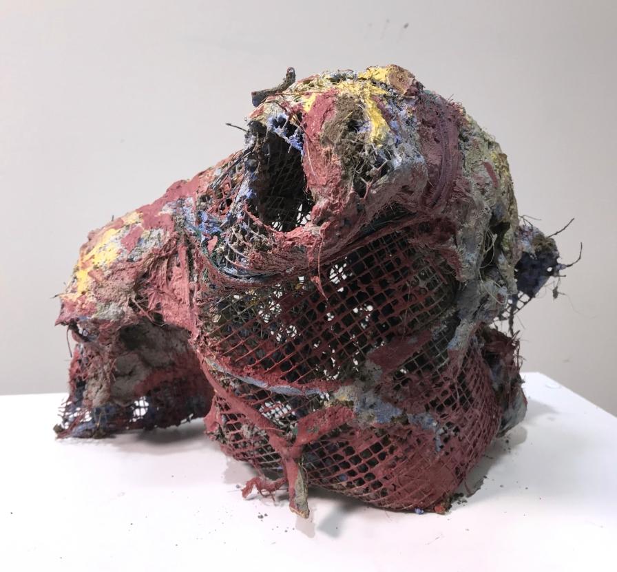 Howl   2020   excavated urban earth, palm fibers, sand, steel mesh, leather scrap
